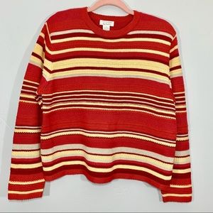 Vintage | 90's Red Striped Crop Style Sweater